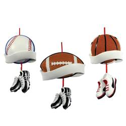 baseball football basketball ornament