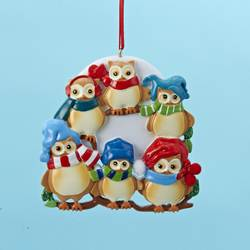owl family of 6 ornament