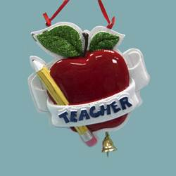 teacher ornament with apple and pencil