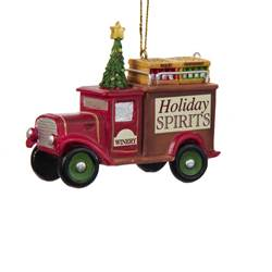 holiday spirits delivery truck ornament