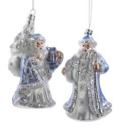 blue and white santa claus ornaments