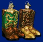 32072 old world christmas cowboy boots ornament