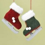 red and green furry ice skate ornaments