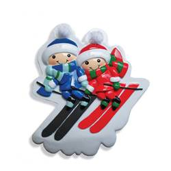 ski couple ornament