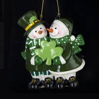 irish snowmen couple ornament