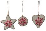 ocb008 Burlap snowflake ornaments