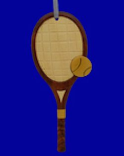 wooden tennis racket ornament