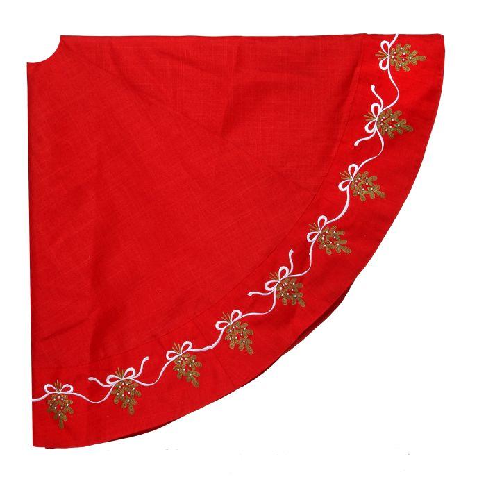 red green and white mistletoe tree skirt