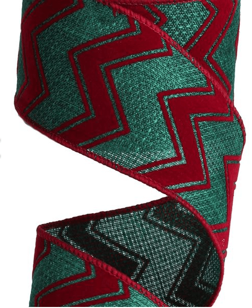red and green flocked chevron ribbon