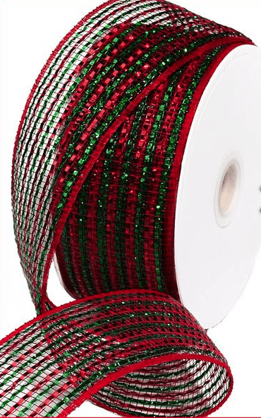 red and green emerald foil mesh ribbon