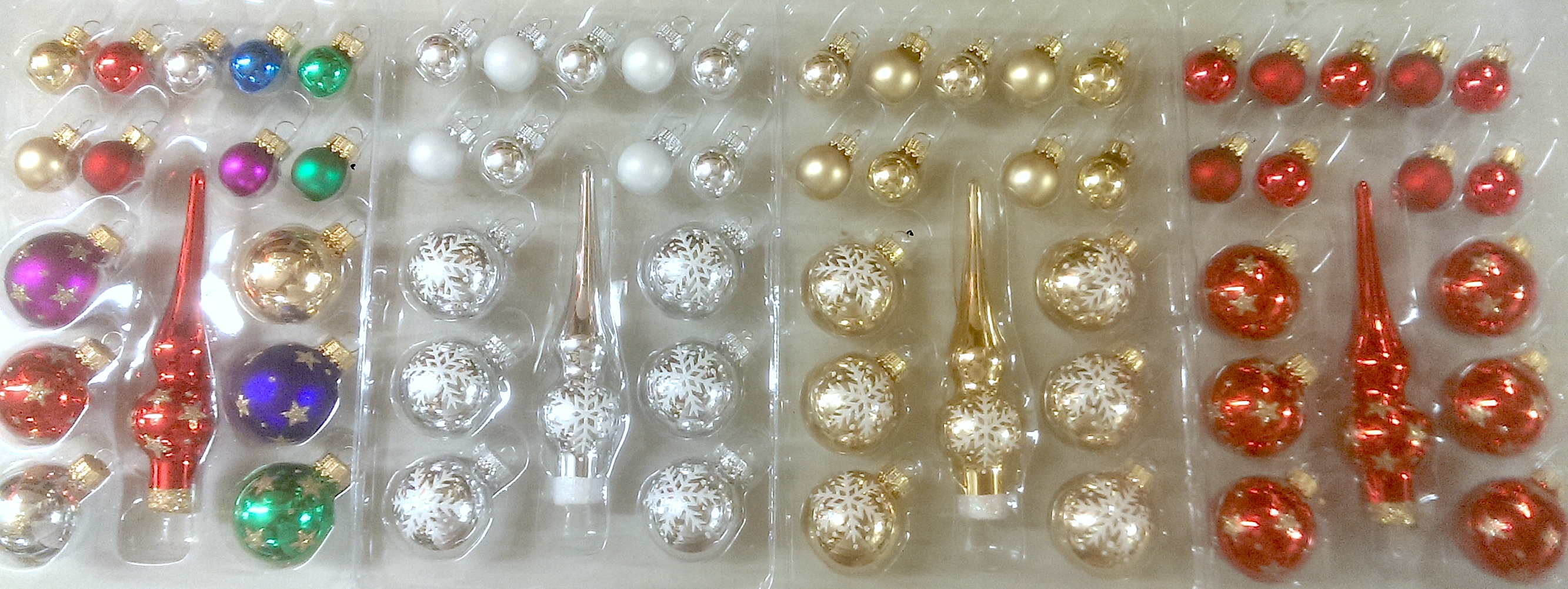 miniature boxed balls and mini tree toppers