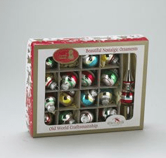 early years retro boxed balls and tree topper miniature tree ornaments