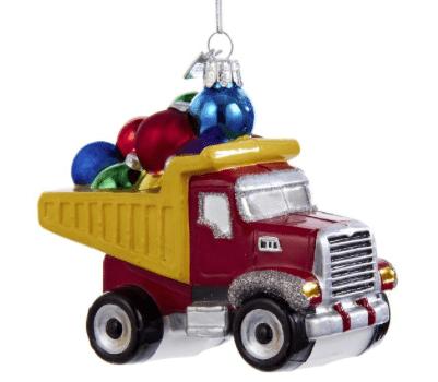 glass dump truck ornament