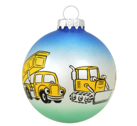 construction equipment glass ball ornament