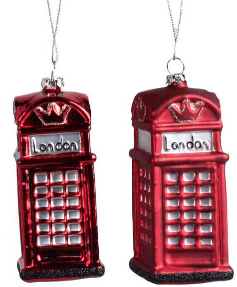 london glass ornament telephone booth ornament