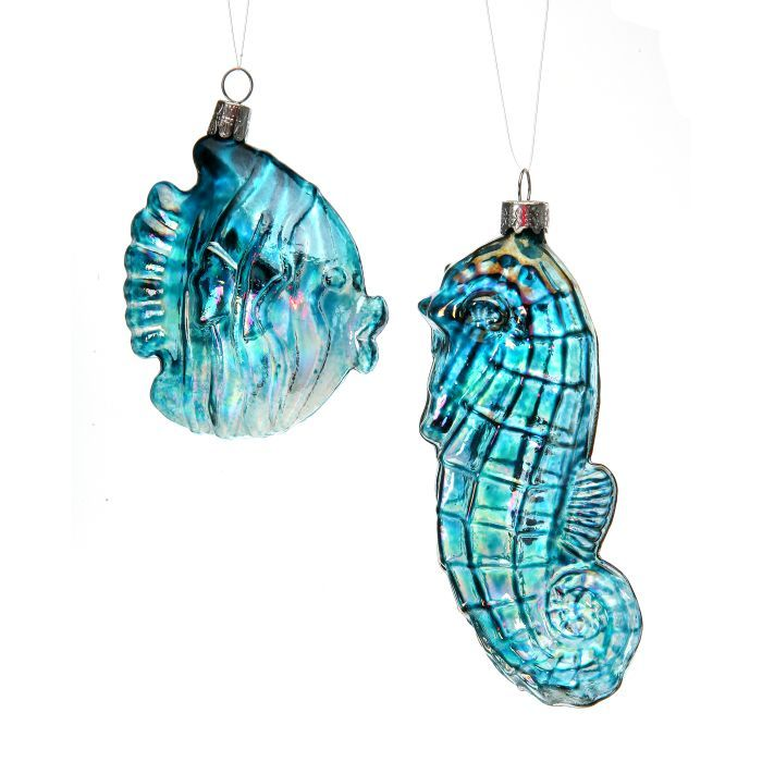 or006 seahorse and fish ornament