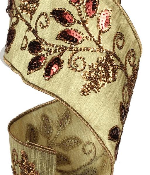 ri320 burgundy and gold sequin ribbon