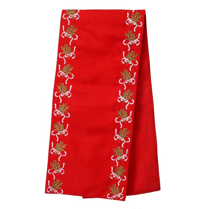 tbl020 red linen mistletoe table runner