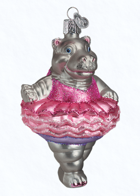 Hippo Christmas Ornament.Old World Christmas Twinkle Toes Hippo Ornament