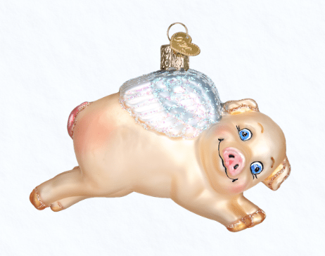 old world christmas flying pig ornament