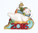 old world christmas 2016 sledding snowman ornament