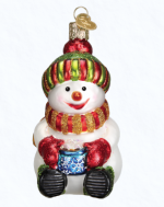old world christmas snowman with cocoa