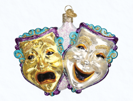 old world christmas comedy and tragedy drama ornament