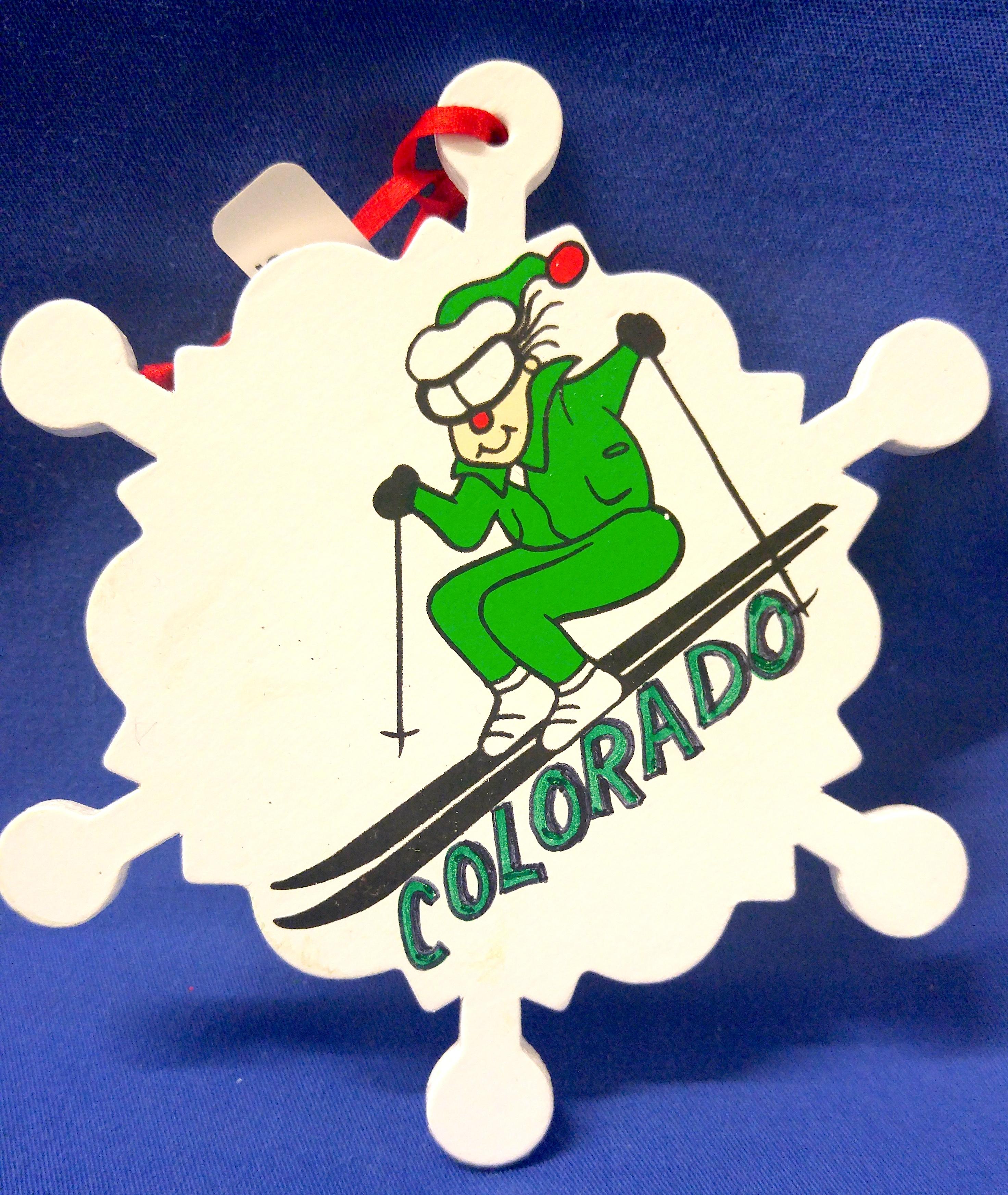 colorado ski snowflake ornament