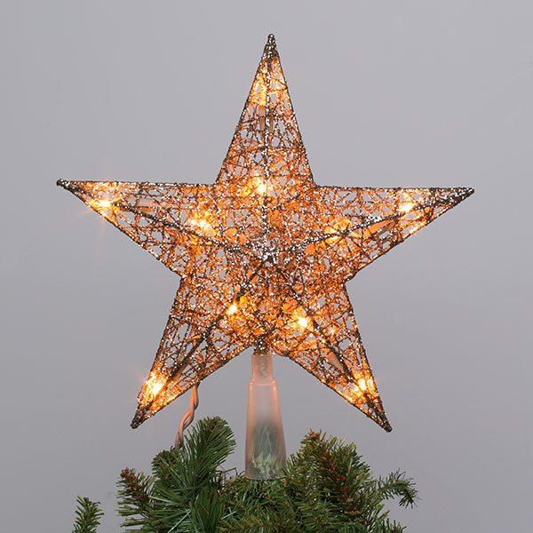champagne star lit tree topper