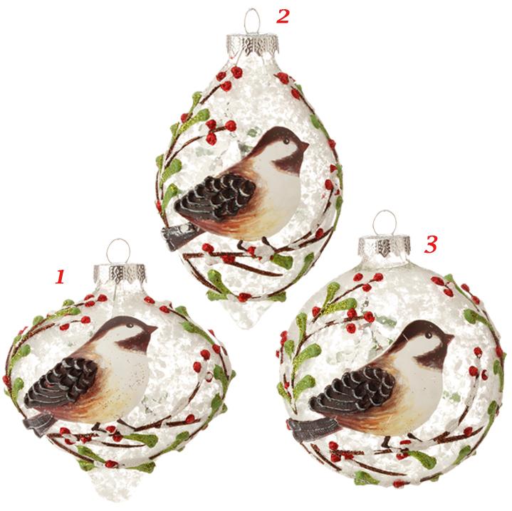 snowy bird glass ornaments