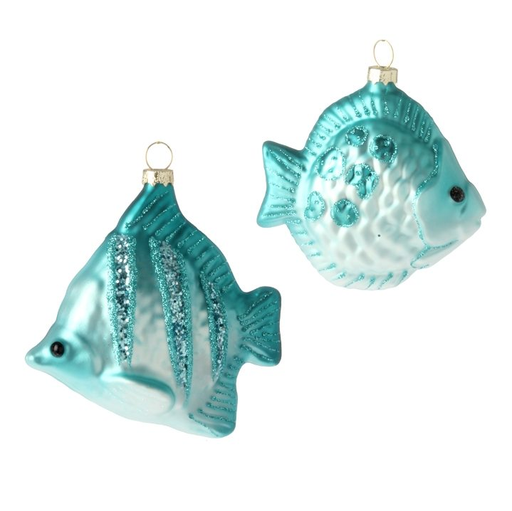3624583 blue glass fish ornaments
