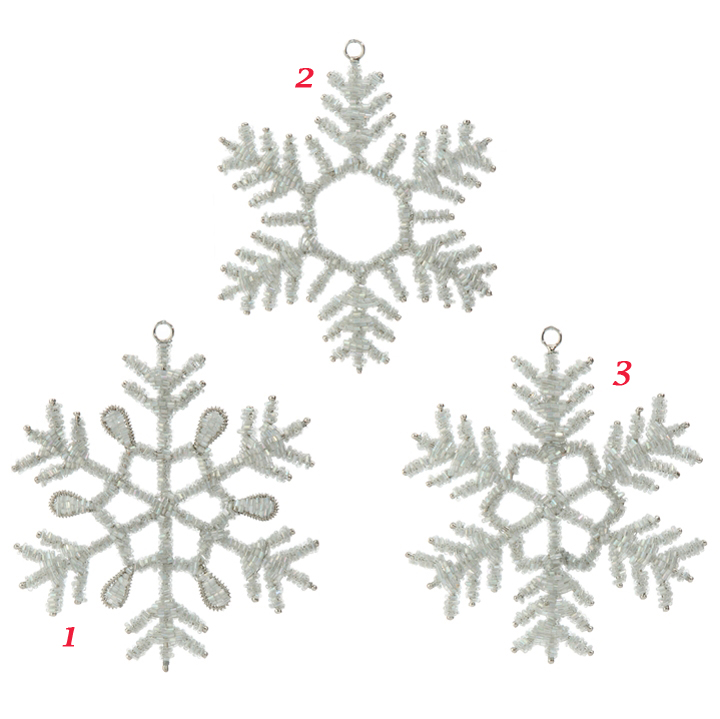 white and silver beaded snowflake ornaments