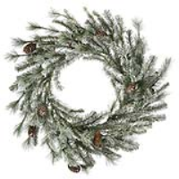 lit frosted alaskan wreath