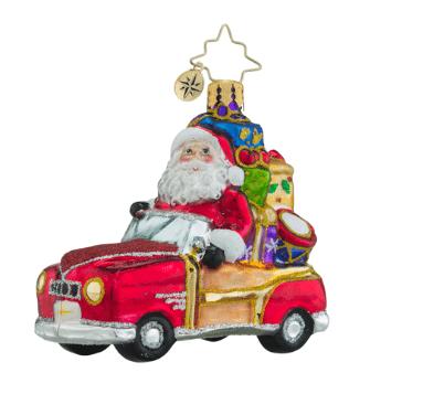 christopher radko vintage ride little gem ornament santa in car