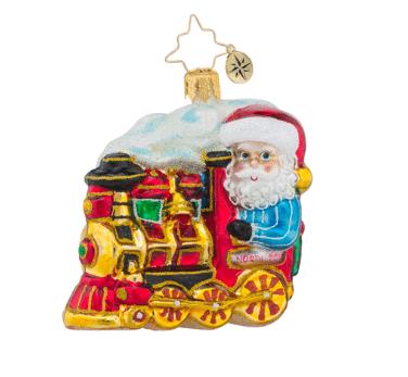 christopher radko north pole express little gem santa train ornament
