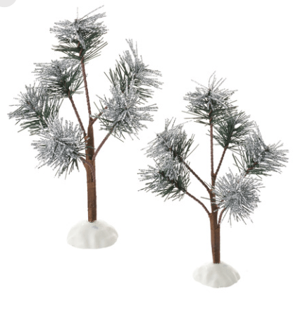 department 56 silver sparkle Pines set of 2