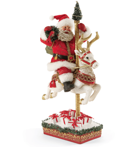 christmas traditions ruby anniversary santa carousel 40th anniversary piece