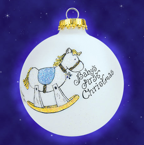 baby boys first christmas rocking horse ornament