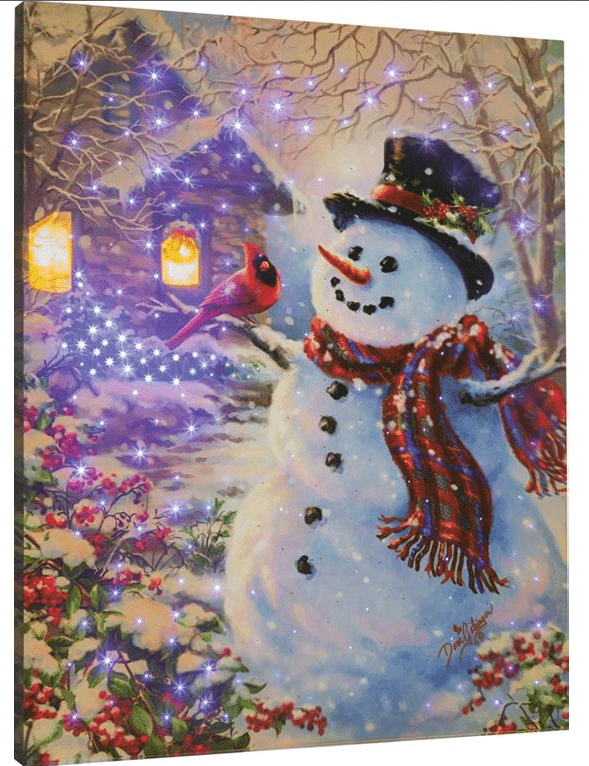 pi089 snowman feathered friend fiber optic painting