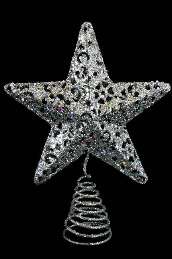 58312-SILVER star tree topper
