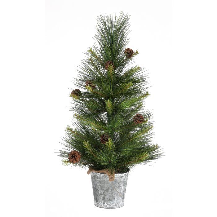 pine tree with cones in tin bucket unlit