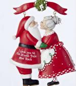 santa and mrs claus under the mistletoe