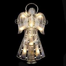 brass capiz angel with scroll tree topper