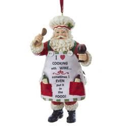santa with wine ornament
