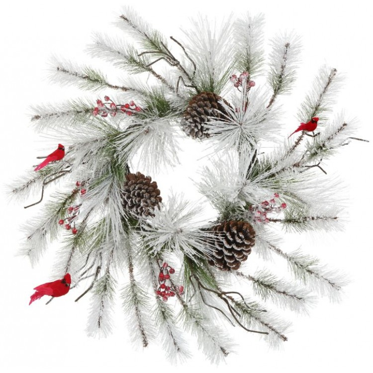 snowpine cardinal wreath 28 inch