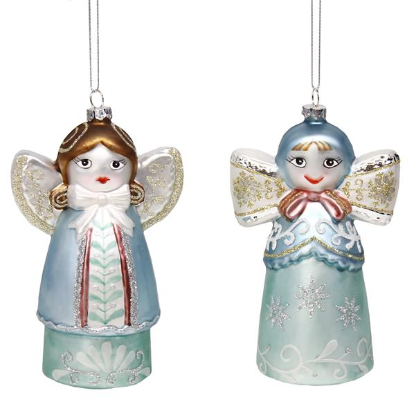 rose colored glass angel ornaments