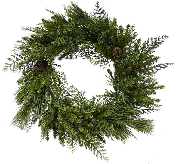24 inch mixed pine and hemlock wreath