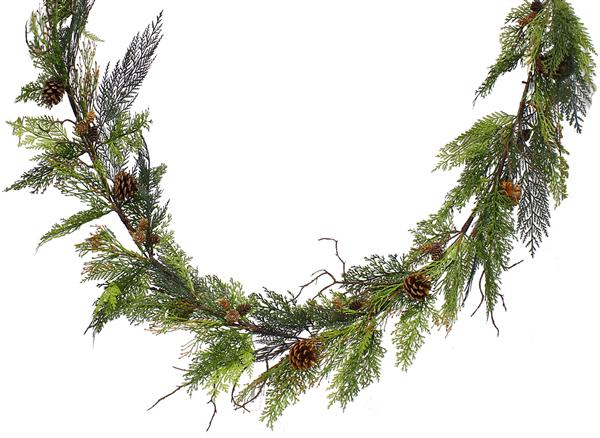 6 foot mixed pine and pine cone garland