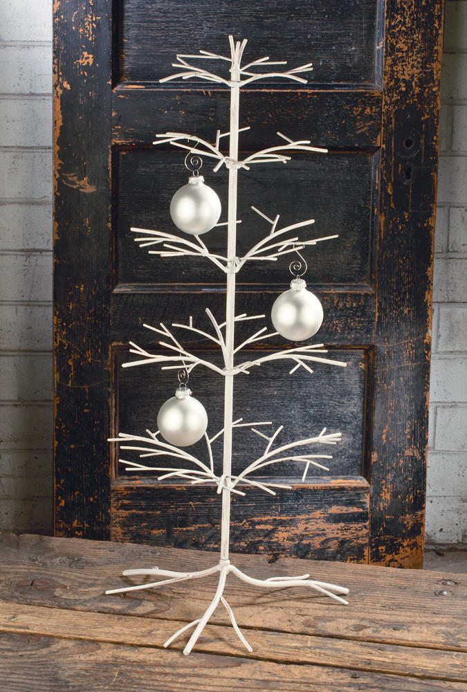 cream metal twig tree for ornament displays