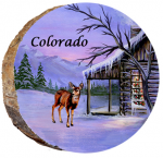 omi686 colorado winter cabin with deer ornament
